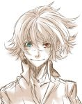 1girl ahoge blue_eyes breasts cleavage commentary_request devil_may_cry devil_may_cry_3 heterochromia jewelry lady_(devil_may_cry) lowres messy_hair necklace red_eyes scar short_hair smile solo spot_color