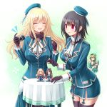 4girls atago_(kantai_collection) beret black_gloves black_hair black_legwear blonde_hair blue_eyes blue_hat blush breasts brown_hair character_doll choukai_(kantai_collection) closed_eyes closed_mouth eyebrows_visible_through_hair garter_straps glasses gloves gradient gradient_background hair_between_eyes hair_ornament hairclip hat headgear kantai_collection large_breasts long_hair maya_(kantai_collection) military military_uniform miniskirt multiple_girls open_mouth pleated_skirt red_eyes remodel_(kantai_collection) rizuriri school_uniform serafuku short_hair skirt smile takao_(kantai_collection) thigh-highs turret uniform white_skirt x_hair_ornament