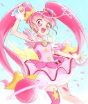 1girl :d ahoge aqua_background choker cowboy_shot cure_star dress earrings holding holding_pen hoshina_hikaru jewelry long_hair magical_girl open_mouth pen petticoat pink_dress pink_eyes pink_hair pink_legwear pink_neckwear planet_hair_ornament precure single_thighhigh smile solo star star_choker star_in_eye star_twinkle_precure symbol_in_eye thigh-highs twintails wrist_cuffs yui_(kanatamoo)