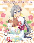 1girl 2019 ahoge alternate_costume blush blush_stickers boar bow chinese_zodiac commentary_request english_text eyebrows_visible_through_hair floral_print from_side glasses gradient grey-framed_eyewear grey_eyes grey_hair hair_between_eyes hair_bow hair_ornament happy_new_year head_tilt highres japanese_clothes kantai_collection kanzashi kimono kiryu_naoto kiyoshimo_(kantai_collection) long_hair long_sleeves looking_at_viewer looking_to_the_side low_twintails new_year obi print_kimono sash semi-rimless_eyewear sitting smile solo stuffed_animal stuffed_boar stuffed_toy tabi twintails under-rim_eyewear wariza wide_sleeves year_of_the_pig yellow_bow