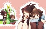 2boys 2girls black_(pokemon) black_wristband blue_shorts bound brown_hair brown_pants closed_eyes creature creatures_(company) dual_persona game_freak gen_5_pokemon laughing long_hair long_sleeves luo-qin multiple_boys multiple_girls nintendo pants pink_background pokemon pokemon_(creature) pokemon_special ponytail red_eyes serperior shirt short_shorts shorts sidelocks simple_background sitting sleeveless sleeveless_shirt sweater tears tied_hair tied_up vest white_(pokemon)
