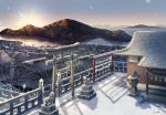 architecture bare_tree blue_sky building day diffraction_spikes east_asian_architecture gradient_sky highres horizon inika island mountain no_humans ocean original outdoors scenery shade shide shrine signature sky snow snowing sun sunlight sunrise tile_roof torii town tree water winter