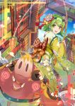 >_< 1girl :d absurdres animal back_bow bangs blue_flower blush_stickers bobo_(6630978) bow building carrot_on_stick checkered checkered_bow chinese_zodiac commentary_request day fishing_rod floral_print flower green_eyes green_hair green_kimono gumi hair_bow hair_flower hair_ornament highres holding japanese_clothes kanzashi kimono long_sleeves looking_back new_year obi open_mouth orange_bow outdoors petals pig red_bow sash short_hair_with_long_locks smile solo striped striped_bow tassel vocaloid white_flower wide_sleeves xd year_of_the_pig