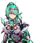 1girl armor bangs blinking blush bodystocking breasts character_name cleavage closed_mouth cowboy_shot earrings eyebrows_visible_through_hair faulds gauntlets green_eyes green_hair headband high_ponytail jewelry large_breasts lips long_hair looking_at_viewer nintendo pantyhose pixivfi-san pneuma_(xenoblade_2) ponytail pose see-through sidelocks simple_background smile solo spoilers standing very_long_hair white_background xenoblade_(series) xenoblade_2