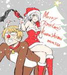1boy 1girl animal_costume bell bell_collar boots breasts candle chartreux_westia christmas cleavage clenched_teeth collar dress fur_trim glasses gloves hair_over_one_eye hat highres kishuku_gakkou_no_juliet merry_christmas natsupa pun red_gloves reindeer_costume santa_boots santa_costume santa_gloves santa_hat scott_fold short_hair silver_hair sitting sitting_on_person strapless strapless_dress sweat teeth yellow_eyes