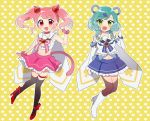 2girls :d animal_ears ankle_strap aqua_hair bang_dream! bangs bear_ears black_legwear blue_neckwear blue_skirt blush boots bow bracelet brooch cat_ears cat_tail clenched_hand commentary_request cosplay crop_top elbow_gloves frilled_skirt frills full_body gloves green_eyes hair_ornament hairband hand_up heart heart_background heart_hair_ornament high_heels hikawa_hina jewelry looking_at_viewer maruyama_aya midriff miyuara multiple_girls navel neck_ribbon open_mouth outline pink_eyes pink_hair pink_neckwear pink_scrunchie pink_skirt pleated_skirt red_footwear ribbon rosia_(show_by_rock!!) rosia_(show_by_rock!!)_(cosplay) sailor_collar scrunchie shirt short_hair show_by_rock!! side_braids sidelocks skirt sleeveless sleeveless_shirt smile spade_hair_ornament tail thigh-highs thigh_strap tsukino_(show_by_rock!!) tsukino_(show_by_rock!!)_(cosplay) twintails v white_footwear white_gloves white_outline white_shirt wrist_scrunchie yellow_background yellow_bow