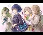 1boy 3girls :d alice_(sinoalice) bag bangs black_bow blue_neckwear blue_ribbon blush bow braid breasts briar_rose_(sinoalice) brown_eyes brown_hair brown_hat capelet closed_mouth coat collared_shirt commentary_request crown_braid eyebrows_visible_through_hair eyes_visible_through_hair floating_hair food frilled_capelet frills gradient gradient_background green_bow green_eyes green_hair grey_skirt hair_between_eyes hair_bow hair_ornament hand_up hands_up hat high-waist_skirt highres holding holding_food hoshizaki_reita ice_cream ice_cream_cone jacket leaning_forward letterboxed little_red_riding_hood_(sinoalice) long_hair long_sleeves looking_at_viewer medium_breasts multicolored_hair multiple_boys multiple_girls neck_ribbon open_mouth petals pink_background pink_hair pinocchio_(sinoalice) plaid plaid_skirt pleated_skirt profile purple_bow purple_hair purple_jacket ribbon shirt short_hair signature sinoalice skirt smile trap upper_teeth very_long_hair white_capelet white_shirt wide_sleeves wing_collar yellow_eyes yellow_skirt