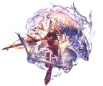 1girl animal armor armored_boots armored_dress athena_(granblue_fantasy) bangs bird blonde_hair boots braid breasts closed_mouth dress feathers full_body gauntlets granblue_fantasy helmet holding holding_weapon long_hair looking_at_viewer looking_back minaba_hideo official_art owl polearm ribbed_dress shield shoulder_armor sidelocks spear transparent_background twin_braids violet_eyes weapon wings