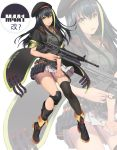 1girl absurdres alternate_costume artist_name assault_rifle asymmetrical_legwear bangs beret black_coat black_footwear black_hair black_hat black_legwear blush boots buckle character_name coat commentary_request girls_frontline green_eyes green_hair grenade_launcher gun hat henz_(86551650) highres holding holding_skirt knee_pads long_hair looking_at_viewer m4_carbine m4a1_(girls_frontline) magazine_(weapon) multicolored_hair open_mouth pleated_skirt pouch ribbed_sweater rifle sidelocks single_thighhigh skirt sleeveless sleeveless_turtleneck solo strap streaked_hair sweater thigh-highs trigger_discipline turtleneck weapon white_background white_skirt zoom_layer