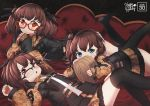3girls ags-30_(girls_frontline) ahoge black_legwear blue_eyes blush brown_hair commentary couch date drum_magazine english_text girls_frontline glasses hair_ornament highres looking_at_viewer lying military military_operator military_uniform multiple_girls no_shoes on_stomach open_mouth optical_camouflage persocon93 red_eyes sheath sheathed side_ponytail thigh-highs twintails uniform weapon