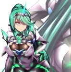 1girl armor ass back bangs blinking blush bodystocking breasts character_name cleavage closed_mouth cowboy_shot earrings eyebrows_visible_through_hair faulds gauntlets green_eyes green_hair headband high_ponytail jewelry large_breasts lips long_hair looking_at_viewer nintendo pantyhose pixivfi-san pneuma_(xenoblade_2) ponytail pose see-through sidelocks simple_background smile solo spoilers standing very_long_hair white_background xenoblade_(series) xenoblade_2