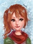 1girl artist_name bangs brown_hair character_request closed_mouth commentary english_commentary green_coat hair_between_eyes harvest_moon harvest_moon:_light_of_hope_special_edition heart highres lips long_hair looking_to_the_side red_scarf scarf smile snow solo yanting_sun