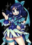 1girl alternate_costume black_background blue blue_bow blue_eyes blue_hair blue_nails bow cowboy_shot dress fingernails grin hair_bow hand_on_hip heartcatch_precure! idol kurumi_erika looking_at_viewer nail_polish ninomae plaid precure short_hair simple_background smile solo standing striped teeth thighlet vertical_stripes wrist_cuffs