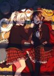 2girls blazer blush cape cheek_pinching chocolate_chip_cookie coffee_cup crossed_arms cup disposable_cup highres jacket long_hair lying multiple_girls neck_ribbon on_side pillow pinching plaid plaid_skirt ponytail red_cape ribbon ruby_rose rwby school_uniform skirt sleeping stuffed_toy textbook tsuta_no_ha weiss_schnee white_hair