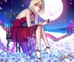 1girl arcueid_brunestud blonde_hair boots breasts cleavage cup dress flower from_side full_body full_moon grin halterneck high_heel_boots high_heels holding holding_cup large_breasts long_dress moon petra-ii red_dress red_eyes see-through short_hair sitting sleeveless sleeveless_dress smile solo tsukihime white_flower white_petals