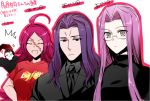 2boys 2girls ahoge assassin_(fate/zero) berserker_(fate/zero) breasts closed_eyes facial_scar fate/extra fate/grand_order fate/stay_night fate/zero fate_(series) formal francis_drake_(fate) grey_eyes long_hair medusa_(fate)_(all) multiple_boys multiple_girls necktie open_mouth pink_hair purple_hair rider scar suit sweater turtleneck violet_eyes ycco_(estrella)