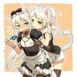 2girls american_flag american_flag_print angry animal_ears apron azur_lane black_dress black_gloves black_legwear blue_eyes blush border bow breast_poke cat_ears cat_girl cat_tail choker criss-cross_halter cross-laced_legwear dress elbow_gloves fingerless_gloves flag_print flat_chest frilled_apron frills gloves green_eyes hair_bow halterneck hammann_(azur_lane) long_hair multiple_girls open_mouth orange_background outside_border poking print_neckwear puffy_short_sleeves puffy_sleeves red_choker short_sleeves simple_background sims_(azur_lane) tail thigh-highs two_side_up underbust waist_apron white_apron white_border white_hair wrist_cuffs yudepii