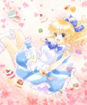 1girl :d alice_(wonderland) alice_(wonderland)_(cosplay) alice_in_wonderland apron blonde_hair blue_eyes bow cookie cosplay cup dress flower food hair_bow heart kneehighs macaron maekawa_suu open_mouth ponytail smile teacup teapot umineko_no_naku_koro_ni ushiromiya_jessica white_legwear