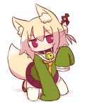 1girl animal_ear_fluff animal_ears arm_support bangs bell bell_collar blonde_hair blush brown_collar closed_mouth collar eyebrows_visible_through_hair fox_ears fox_girl fox_tail full_body green_shirt hair_between_eyes hair_bun hair_ornament hand_up head_tilt jingle_bell kemomimi-chan_(naga_u) kneeling long_hair long_sleeves looking_at_viewer naga_u orange_neckwear original pleated_skirt purple_skirt red_eyes red_footwear ribbon-trimmed_legwear ribbon_trim shadow shirt skirt sleeves_past_fingers sleeves_past_wrists solo tail thigh-highs white_background white_legwear
