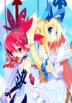 2girls arm_warmers black_neckwear black_sleeves blonde_hair blue_background blue_bow blue_eyes bouquet bow bride choker closed_mouth detached_sleeves disgaea dress etna flonne flower hair_between_eyes hair_bow highres holding holding_bouquet long_hair looking_at_viewer makai_senki_disgaea miyakawa106 multiple_girls pointy_ears red_eyes redhead see-through short_hair side_ponytail smile spider_lily spiky_hair twintails upper_body veil white_dress white_sleeves