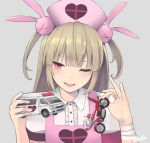 1girl ;d ambulance artist_name bandage bandaged_arm bandages bangs blush brown_hair bunny_hair_ornament buttons collared_shirt commentary_request eyebrows_visible_through_hair frilled_shirt frills grey_background ground_vehicle hair_ornament hands_up hat head_tilt heart highres holding holding_toy long_hair looking_at_viewer motor_vehicle motorcycle natori_sana nurse_cap one_eye_closed open_mouth pink_eyes retorillo sana_channel shirt short_sleeves simple_background smile smug solo toy_car two_side_up upper_body virtual_youtuber white_shirt