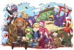 blonde_hair blue_eyes blue_skin blush braid dark_link dark_skin dual_persona fi fish_girl ganondorf hair_ornament hat highres imp japanese_clothes jewelry kandori_makoto kimono link long_hair midna mipha monster_girl multicolored multicolored_skin multiple_boys multiple_girls neon_trim nintendo no_eyebrows orange_hair pointy_ears princess_zelda redhead reverse_trap sheik shield smile surcoat the_legend_of_zelda the_legend_of_zelda:_breath_of_the_wild the_legend_of_zelda:_ocarina_of_time the_legend_of_zelda:_skyward_sword the_legend_of_zelda:_twilight_princess toon_link turban two-tone_skin yellow_eyes yellow_sclera young_link zora