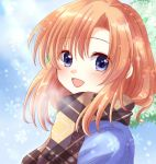1girl :d blue_eyes higurashi_no_naku_koro_ni maekawa_suu open_mouth orange_hair plaid plaid_scarf ryuuguu_rena scarf smile snowflakes upper_body