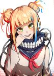 1girl :d absurdres artist_name bangs blonde_hair blue_sailor_collar blunt_bangs boku_no_hero_academia double_bun head_tilt highres kuno_(runkunochan) long_hair long_sleeves looking_at_viewer neckerchief open_mouth red_neckwear sailor_collar shiny shiny_hair simple_background smile solo sweater toga_himiko upper_body white_background white_sweater yellow_eyes