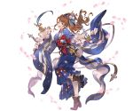 1girl ankle_boots bangs beatrix_(granblue_fantasy) boots brown_eyes brown_footwear brown_hair cherry_blossoms detached_sleeves ema full_body granblue_fantasy hair_ornament hair_stick holding japanese_clothes kimono leg_up long_hair long_sleeves looking_at_viewer minaba_hideo obi official_art open_mouth paintbrush parted_bangs petals sash shiny shiny_hair smile solo transparent_background wide_sleeves