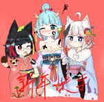 3girls @_@ ahoge animal animal_ear_fluff animal_ears animal_on_shoulder bailingxiao_jiu bandage bandaged_arm bandages bangs black_gloves black_hair blue_eyes blue_hair blue_kimono blush bow breasts chinese cleavage collarbone cropped_torso dragon_horns eyebrows_visible_through_hair facepaint fingerless_gloves food fur_collar gloves gourd hair_bow heart heart-shaped_pupils holding holding_food horns japanese_clothes kimono leaf leaf_on_head long_sleeves mask mask_on_head medium_breasts multiple_girls nose_blush obi off_shoulder one_eye_closed open_mouth original parted_lips purple raccoon_ears red_background red_eyes red_kimono sash silver_hair simple_background sleeves_past_wrists striped striped_bow symbol-shaped_pupils tanuki translated