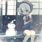 1girl blue_hair blush cup drink hairband hat highres knees_together_feet_apart konpaku_youmu looking_down looking_to_the_side outdoors porch saigyouji_yuyuko short_hair sitting sketch sliding_doors smile snow snowing snowman steam ti_owo touhou winter