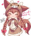 1girl :i animal_ears animal_hood bangs blush bow brown_dress brown_hair closed_mouth commentary_request dog_ears dog_girl dog_tail dress facing_viewer fur-trimmed_dress fur-trimmed_sleeves fur_trim hair_bow hair_ornament hairclip hands_on_own_cheeks hands_on_own_face heart hood hood_up hooded_dress long_hair low_twintails makuran momiji_(makuran) original pig_costume pig_ears pig_hood pink_bow signature simple_background solo tail thick_eyebrows twintails v-shaped_eyebrows very_long_hair white_background