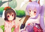 2girls animal_ears bamboo bamboo_forest black_gloves black_hair blush bush commentary_request floppy_ears flower forest fur-trimmed_kimono fur_trim gloves hair_flower hair_ornament heart inaba_tewi japanese_clothes kimono lavender_hair looking_at_viewer multiple_girls nature nnyara obi open_mouth paddle paint_on_face paintbrush ponytail rabbit_ears red_eyes reisen_udongein_inaba sash touhou tree twitter_username upper_body
