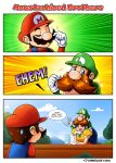 1girl 2015 2boys 3koma big_nose blue_eyes brothers brown_hair comic commentary dress english_commentary english_text eyebrows_visible_through_hair facial_hair fake_facial_hair fake_mustache fang gloves hat highres long_hair luigi luis_parada mario mario_(series) multiple_boys mustache nintendo overalls princess_daisy puffy_short_sleeves puffy_sleeves short_hair short_sleeves siblings smug super_mario_bros. sweatdrop v white_gloves yellow_dress