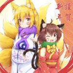 2girls ;d absurdres ahoge akiteru98 animal_ear_fluff animal_ears bare_shoulders blonde_hair bow bowtie breasts brown_eyes brown_hair calligraphy_brush cat_tail chen commentary_request cowboy_shot detached_sleeves eyebrows_visible_through_hair fang fox_ears fox_tail fur_collar hair_between_eyes highres holding holding_brush japanese_clothes kimono large_breasts long_sleeves looking_at_viewer medium_breasts multiple_girls multiple_tails nekomata no_hat no_headwear obi one_eye_closed open_mouth paintbrush red_kimono red_sash sash short_hair smile standing tail touhou translated two_tails whisker_markings white_kimono wide_sleeves yakumo_ran yellow_bow yellow_eyes yellow_neckwear