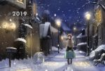 1girl 2019 bag bangs bare_tree beanie bench black_eyes black_hair black_legwear black_sweater boots building chimney commentary_request english_text footprints green_skirt grey_coat hat highres holding holding_bag house lamppost long_sleeves night night_sky original outdoors park_bench plaid plaid_skirt sakeharasu scenery short_hair sidelocks sign skirt sky snow snowing snowman solo suitcase sweater town tree turtleneck turtleneck_sweater v_arms walking wide_shot wide_sleeves window winter winter_clothes