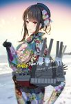 1girl 2019 bangs beret black_gloves black_hair blue_hat blue_kimono blurry blurry_background blush breasts cannon commentary_request cowboy_shot flower from_side gloves hair_flower hair_ornament hand_up happy_new_year hat hayakawa_akari highres japanese_clothes kantai_collection kimono large_breasts looking_at_viewer new_year obi ocean outdoors red_eyes rigging sash short_hair sidelocks smile snow snowing solo sunrise takao_(kantai_collection) turret wide_sleeves