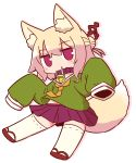 1girl animal_ear_fluff animal_ears bangs bell bell_collar blonde_hair blush brown_collar brown_footwear collar drop_shadow eyebrows_visible_through_hair fox_ears fox_girl fox_tail full_body green_shirt hair_between_eyes hair_bun hair_ornament highres jingle_bell kemomimi-chan_(naga_u) long_hair long_sleeves looking_at_viewer naga_u orange_neckwear original parted_lips pleated_skirt purple_skirt ribbon-trimmed_legwear ribbon_trim shirt sidelocks skirt sleeves_past_fingers sleeves_past_wrists solo tail white_background white_legwear
