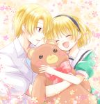 1boy 1girl ^_^ blonde_hair bow brother_and_sister closed_eyes closed_eyes collared_shirt dress fang flower hairband higurashi_no_naku_koro_ni houjou_satoko houjou_satoshi maekawa_suu open_mouth red_eyes sailor_dress shirt siblings smile stuffed_animal stuffed_toy teddy_bear