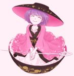 1girl bowl bowl_hat closed_eyes hat in_bowl in_container japanese_clothes kimono looking_at_viewer minigirl needle purple_hair sewing_needle short_hair smile sukuna_shinmyoumaru touhou