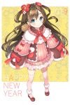 1girl 2019 animal bangs blue_eyes blush brown_footwear brown_hair chinese_zodiac chitetan closed_mouth commentary_request dress eyebrows_visible_through_hair flower full_body fur-trimmed_sleeves fur_trim hair_between_eyes hair_flower hair_ornament happy_new_year highres long_hair long_sleeves looking_at_viewer nengajou new_year original pig pink_dress pink_legwear red_flower sleeves_past_fingers sleeves_past_wrists smile solo standing thigh-highs two_side_up very_long_hair white_flower wide_sleeves year_of_the_pig
