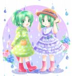 2girls :d boots child closed_umbrella dress flower frog green_eyes green_hair hat higurashi_no_naku_koro_ni hydrangea lowres maekawa_suu multiple_girls open_mouth ponytail rain raincoat rubber_boots siblings sisters smile sonozaki_mion sonozaki_shion twins umbrella younger