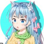 1girl :o animal_ear_fluff animal_ears arm_up artist_name bangs blue_eyes blue_hair blush bow cat_ears chestnut_mouth chinese_commentary commentary_request fang green_scarf hair_ornament hairclip hand_on_own_chest hbb long_hair looking_at_viewer open_mouth original pink_hair scarf shiny shiny_hair shirt solo striped striped_bow thick_eyebrows tongue very_long_hair white_stripes yellow_shirt