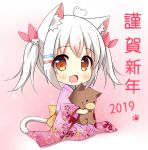 >_< 1girl 2019 :d ahoge animal animal_ears animal_hug bangs blush brown_eyes cat_ears cat_girl cat_hair_ornament cat_tail chibi chinese_zodiac commentary_request eyebrows_visible_through_hair fang floral_print full_body hair_between_eyes hair_ornament hair_ribbon hairclip happy_new_year heart_ahoge japanese_clothes kimono long_sleeves looking_at_viewer new_year open_mouth original pig pink_kimono pink_ribbon print_kimono ribbon seiza sidelocks silver_hair sitting smile solo tail twintails wide_sleeves xiaosamiao year_of_the_pig