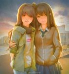 2girls aqua_neckwear bangs beach blue_pants blue_skirt brown_eyes brown_hair brown_jacket building buttons character_request closed_mouth collared_shirt commentary_request diagonal_stripes evening green_jacket hand_in_pocket holding_another's_arm idolmaster jacket language_request lipstick_mark long_hair long_sleeves looking_at_viewer multiple_girls necktie open_mouth outdoors pants pleated_skirt railing scarf school_uniform shibuya_rin shimamura_uzuki shirt skirt smile stairs standing striped striped_neckwear sunlight t-shirt white_shirt wing_collar xpjt3275 yellow_eyes yuri