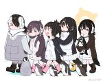 5girls :d bird bird_tail black_hair boots brown_eyes commentary_request drawstring emperor_penguin_(kemono_friends) gentoo_penguin_(kemono_friends) grape-kun hair_over_one_eye hand_on_another's_shoulder headphones hood hood_down hoodie humboldt_penguin_(kemono_friends) kemono_friends long_hair low_twintails multicolored_hair multiple_girls open_mouth orange_hair penguin pink_hair rockhopper_penguin_(kemono_friends) royal_penguin_(kemono_friends) seto_(harunadragon) short_hair simple_background smile twintails twitter_username walking white_hair younger