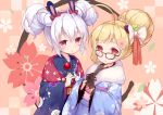 2girls absurdres ahoge alternate_hairstyle animal_ears azur_lane bangs blonde_hair breasts candy_apple cannian_dada double_bun eldridge_(azur_lane) facial_mark fake_animal_ears fan food glasses hair_between_eyes hair_bun hair_ornament hairband hairclip highres japanese_clothes laffey_(azur_lane) multiple_girls new_year parted_lips rabbit_ears red_eyes silver_hair small_breasts