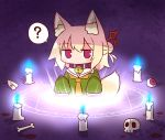 1girl ? animal_ear_fluff animal_ears bangs bell bell_collar blonde_hair blue_fire blush brown_collar burning candle cartoon_bone closed_mouth collar detached_ears eyeball eyebrows_visible_through_hair fire fox_ears fox_girl fox_tail glowing green_shirt hair_between_eyes hair_bun hair_ornament highres jingle_bell kemomimi-chan_(naga_u) long_sleeves magic_circle naga_u orange_neckwear original red_eyes sailor_collar shirt skull sleeves_past_fingers sleeves_past_wrists solo spoken_question_mark summoning tail white_sailor_collar