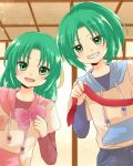 2girls bow child green_eyes green_hair grin hair_bow hair_ribbon higurashi_no_naku_koro_ni hood hoodie maekawa_suu multiple_girls open_mouth ponytail ribbon siblings sisters smile sonozaki_mion sonozaki_shion twins younger