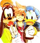 blue_eyes brown_hair commentary_request donald_duck gloves goofy graphite_(medium) jewelry kingdom_hearts kingdom_hearts_i multiple_boys necklace shinigami_a smile sora_(kingdom_hearts) traditional_media